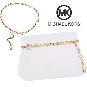 MICHAEL KORS Gold Logo MK Chain Belt S M L XL